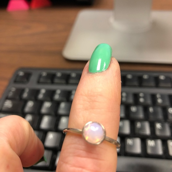 883a83c94c56e Pandora Oct Droplet ring, Opalescent pink crystal